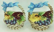 "Pair Mid-Century Japan PY PY5617 Wall Blue Pocket Fruit Basket Ceramic Vases 6"""