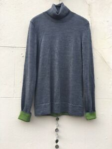 HOBBS London. 100% Wool Charcoal Grey Polo Jumper With Green Detail. 12 (8-10)