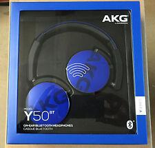 AKG Y50bt Rechargeable Bluetooth Wireless On-ear Headphones Blue