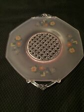 Frosted Glass With Flowers-Serving Tray-Octagon Shaped