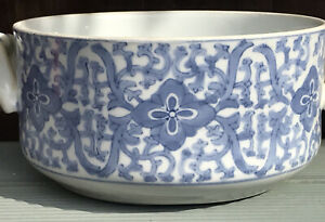 Chinese Porcelain Blue White Bowl With Handles Hand Painted