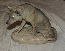 chien loup assis - Céramique craquelée - Louis Riché