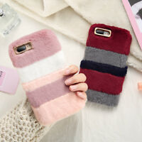 Luxury Cute Warm Soft Fluffy Rabbit Fur Back Case Cover for iPhone 5 6 8 Plus X