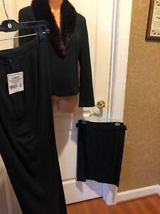 GIANNI PETITES Black Crepe Wool Suit Blazer Skirt Pants NWT NWOT $300+