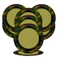 Unique Party 8 Military Camo 9 Inch Plates - Army Tableware Birthday Camouflage