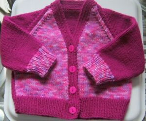 """Hand Knitted Baby Cardi - FUSCHIA & MIX, 18"""" chest, V Neck  **NEW**"""