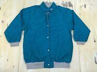 VINTAGE JACKET - 80s-90s Teal Nylon & Gray Sweatshirt Reversible Jacket, MEDIUM