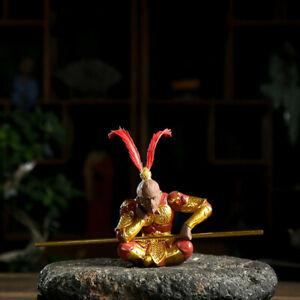 Creative Tea Pet YiXing ZiSha Sun Wukong Ascetic Sun Decoration Monkey King Red