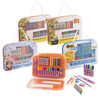 Disney Kids 37pc Art Set Travel Case Drawing Pencil Marker Crayon Coloring Ruler