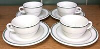 Vintage McNicol China White w/ Green Stripes Tea Cup & Saucer Set (Lot of 4)