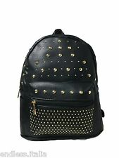 Zaino Zainetto eco pelle nero con Borchie oro Backpack leather Borsa Uomo Donna