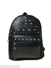 Zaino Zainetto eco pelle nero con Borchie oro Backpack leather Borsa Donna