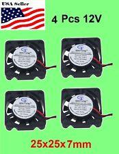 4Pcs 12V 2Pin 25mm 25x25x7mm 2507 9Blade Mini Small DC Brushless Cooling Fan