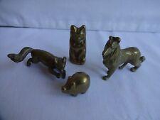 More details for vintage brass animals  dog fox cat pig figurines