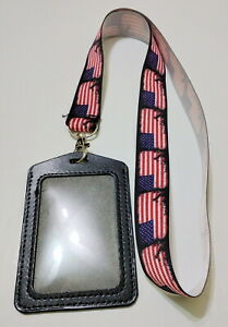 America Flag 4th July Patriot Lanyard Name Badge ID Holder Hand Made USA Seller