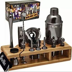 Black 23-Piece Bartender Kit Cocktail Shaker Set by BARILLIO: Stainless Steel
