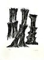 Fritz Wotruba: Drei Skulpturen. Signierte Original-Lithografie.