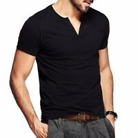 Mens Summer Casual T-shirt V-Neck Short Sleeve Cotton Black M L XL XXL Fine!!