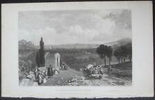 1835ca LA SPEZIA acquaforte su acciaio Roscoe Harding Jenning Chaplin Liguria