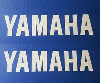 Yamaha WHITE Sticker Decals x 2 180MM x 40MM (A PAIR) * GENUINE YAMAHA *