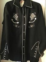 VTG  Western  Shirt H BAR C) California Ranchwear  U.S.A. Sz 16 1/2 Black HTF