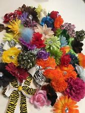 Lot of 50 Assorted Color & Style Silk flower Heads With Clip