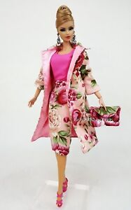 Pink Flower Dress Outfit Gown Coat Bag Fits Silkstone Fashion Royalty Vintage FR