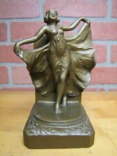 Art Deco Flapper Girl Scantilly Clad Bookend Figural Decorative Art Statue