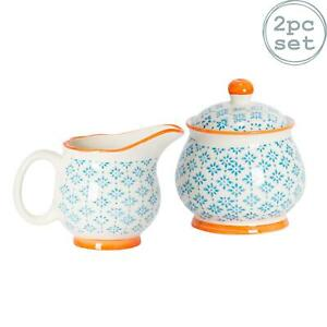 Porcelain Milk Jug & Sugar Pot Bowl Set - Patterned Blue / Orange Print