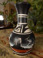 "Handcrafted Pottery Etched Black Plateau Desert signed small vase vintage 5"""