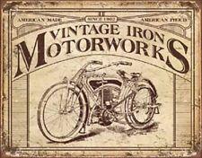 Vintage Iron Motorworks TIN SIGN Vintage Motorcycle Garage Poster Decor Shop Ad