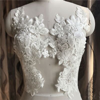 1 Pair Applique Lace Trim Embroidery Sewing Motif  DIY Wedding Bridal Crafts UK