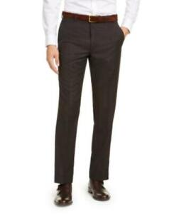 $190 Michael Kors Classic-Fit Airsoft Stretch Windowpane Pants Brown Size 32X30