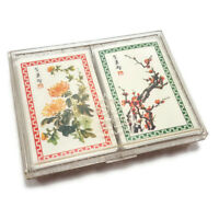Vintage Playing Cards Double Deck Chinese Flowers Branches Peony Hoyle Plastic