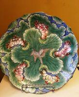 """Vintage Hand Painted Floral Porcelain Decorative Collectible Plate Macau  9""""w"""