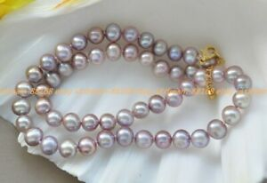 Genuine 7-8mm Lavender Purple Freshwater Pearl Jewelry Necklace 18''