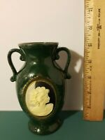 "Vintage Mount Clemens Pottery Cameo Bud Vase Deep Green Marble Design 5.25"" Tall"