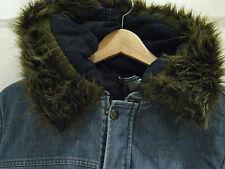 Topshop hooded denim parka *BNWT*coat*jacket*long*fur