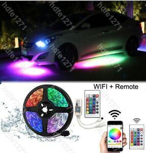 APP Control RGB LED Strip Car underglow Underbody Neon Lights 16FT Kit
