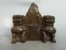 11''bronze folk home fengshui exorcise evil spirits Eight Diagrams foo dogs lion