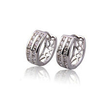 Luxury Two Rows Platinum Plated Small Hoop Earrings Hoops E529