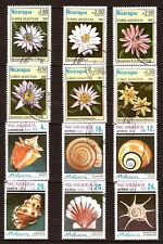 PR 93 Coquillages et fleurs aquatiques 12 Timbres  oblit du NICARAGUA