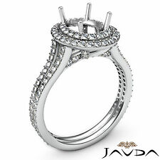 Diamond Vintage Engagement Halo Setting Ring Oval Semi Mount 18k White Gold 1.5C