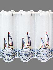 Kurzgardine Badgardine Scheibengardine Segelboote im Sonnenuntergang in 3 Höhen