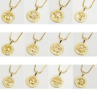 """12 Horoscope Pendant Necklace 18k Yellow Gold Filled 18"""" Chain Jewelry"""