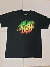 Men's Black Mountain Dew Shirt Size large Black Shirt With Mountain Dew Graphic