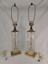 DRESDEN CRYSTAL CUT MATCHING TABLE LAMP BRASS VINTAGE HALLMARK RETRO MID CENTURY