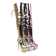 Women's High Heel Stiletto Shoes Plus Sz Platform Patent Leather Over Knee Boots