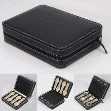 8Grids Watch Display Storage Box Case Tray Zippered Travel Watch Collector Black