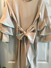 Beige Ruffle Sleeve Cocktail Dress , Size S